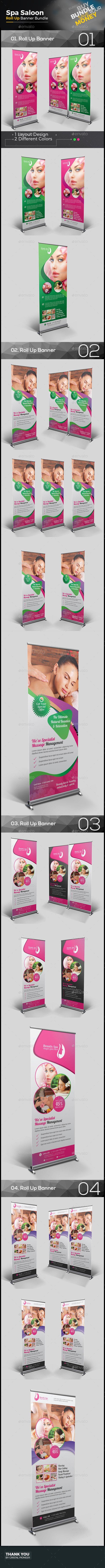 4 Spa Salon Roll-Up Banner Bundle Templates Vector EPS, AI Illustrator. Download...