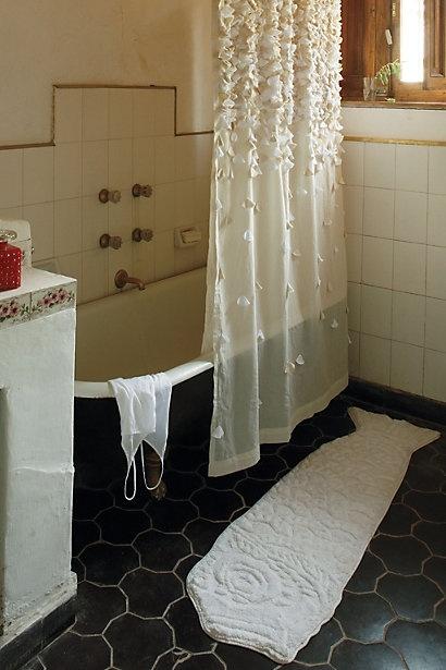from Anthropologie: Floors, Black Bathroom, Bathroom Curtains, Clawfoot Tubs, Fall Showers, Black Tile, Guest Bath, Showers Curtains, Bath Mats