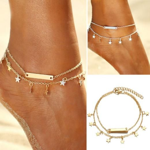 Women Gold & Silver Plated Star Double Chain Anklet Bracelet Beach Foot Jewelry Gold,silver Alloy Unknown China