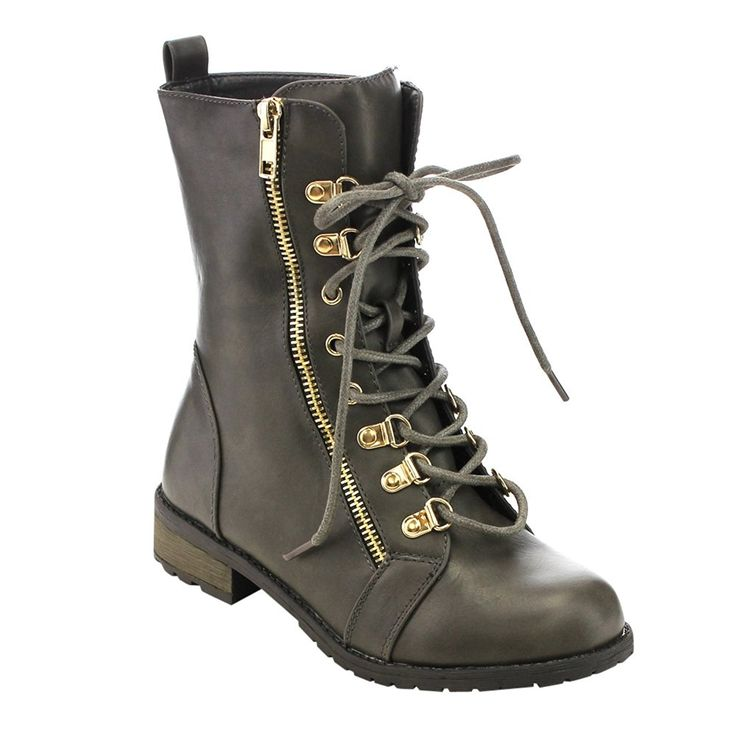 FOREVER GD42 Women's Lace Up Zip Up Military Style Mid-Calf Boots * Want additional info? Click on the image.