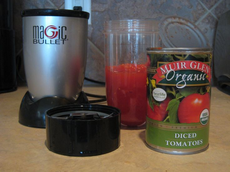 Magic Bullet Salsa: 1 can diced tomatoes, 1 bunch of cilantro, 1 serrano pepper (use jalapeno if you prefer less heat), 1 clove garlic, a few squirts lime juice salt and pepper to taste, one small sweet onion, finely chopped.