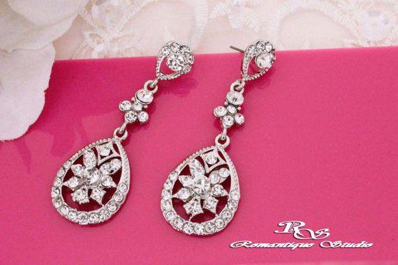 Crystal bruiloft oorbellen, vintage stijl, strass oorbellen van ebben hout drop oorbellen kroonluchter oorbellen, bruids juwelen - 1196