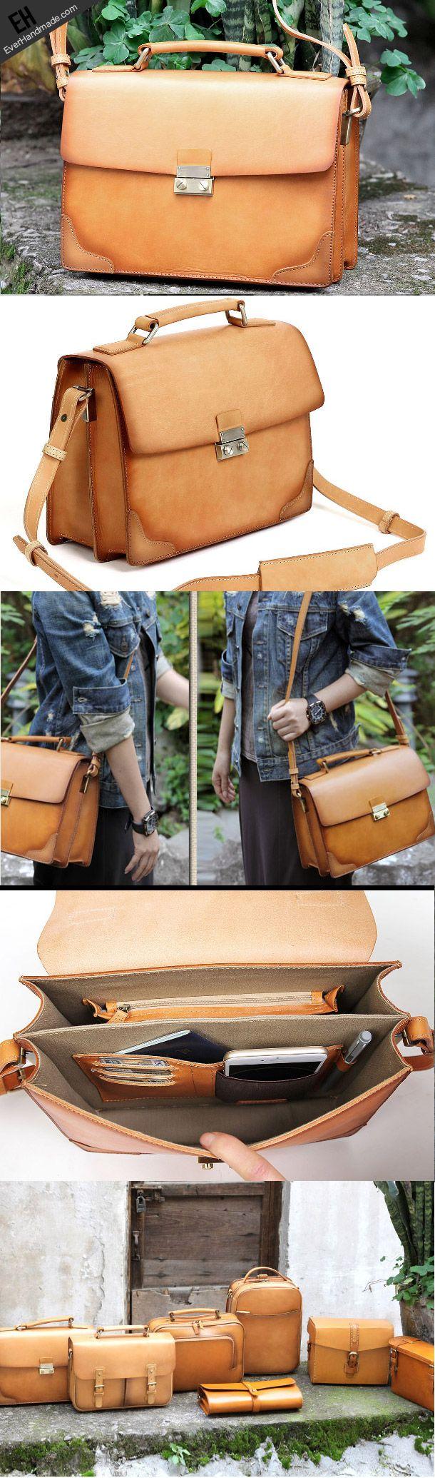 Handmade vintage satchel leather normal messenger bag beige shoulder bag for…