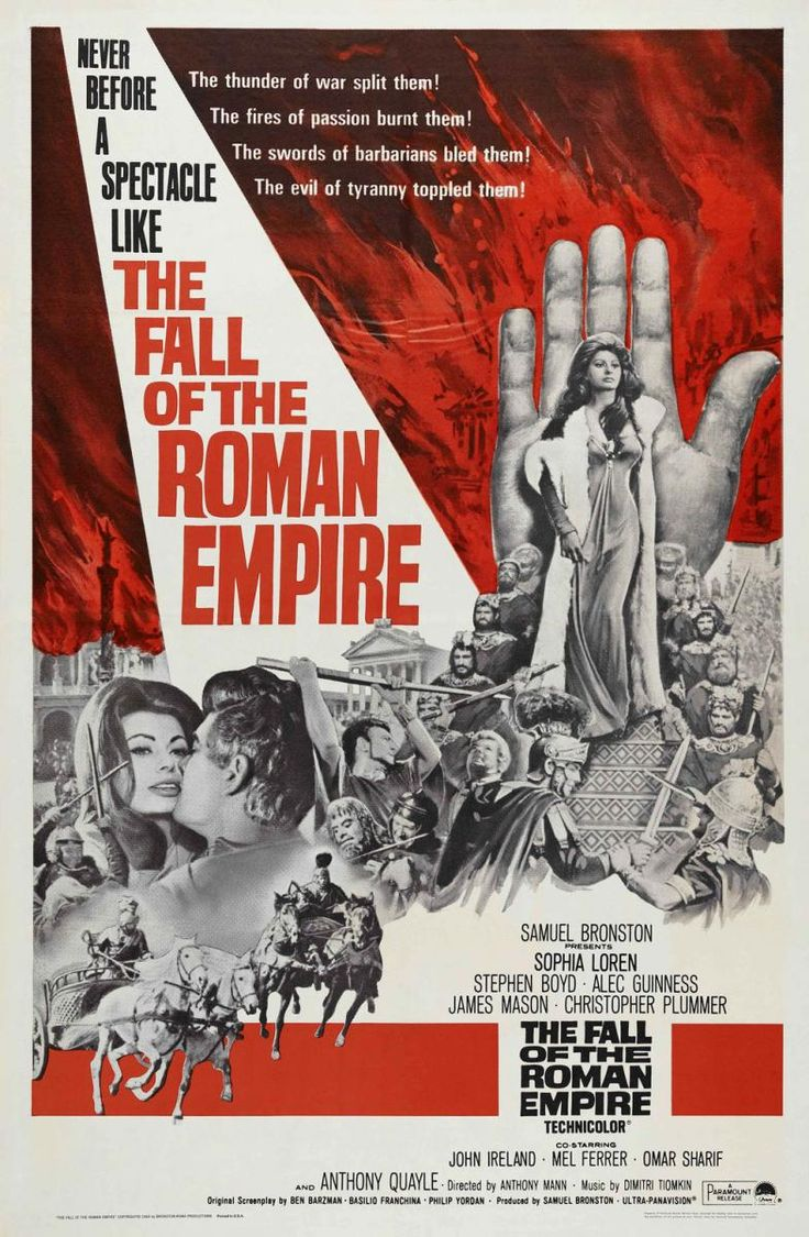 "Sunday, June 5th. ""The Fall of the Roman Empire"" (1964) ***. Director Anthony Mann's epic spectacle was too much a copy cat of ""Ben-Hur"" ."