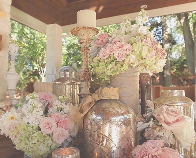 Mercury glass, golds and pinks, antique rose table decor for vintage rustic chic wedding.  Houston Backyard Wedding | Never Too Late To Live Happily Ever After - MaryEllen + Rob