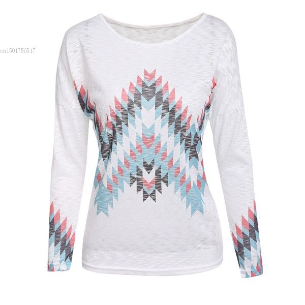 >> Click to Buy << Women T-shirt O-Neck Drop-Shoulder Batwing Long Sleeve Slim Fit Aztec Print Tee Shirt Femme Poleras De Mujer #Affiliate