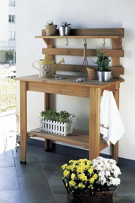 Garden work bench, I like the hooks on this one.