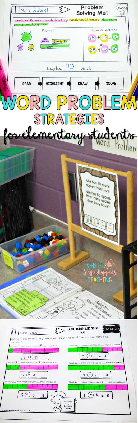 Word problems ideas and resources for 1st and 2nd grade students. Great freebies too! #wordproblems #mathworkshop #firstgrademath #1stgrademath #2ndgrademath #secondgrademath