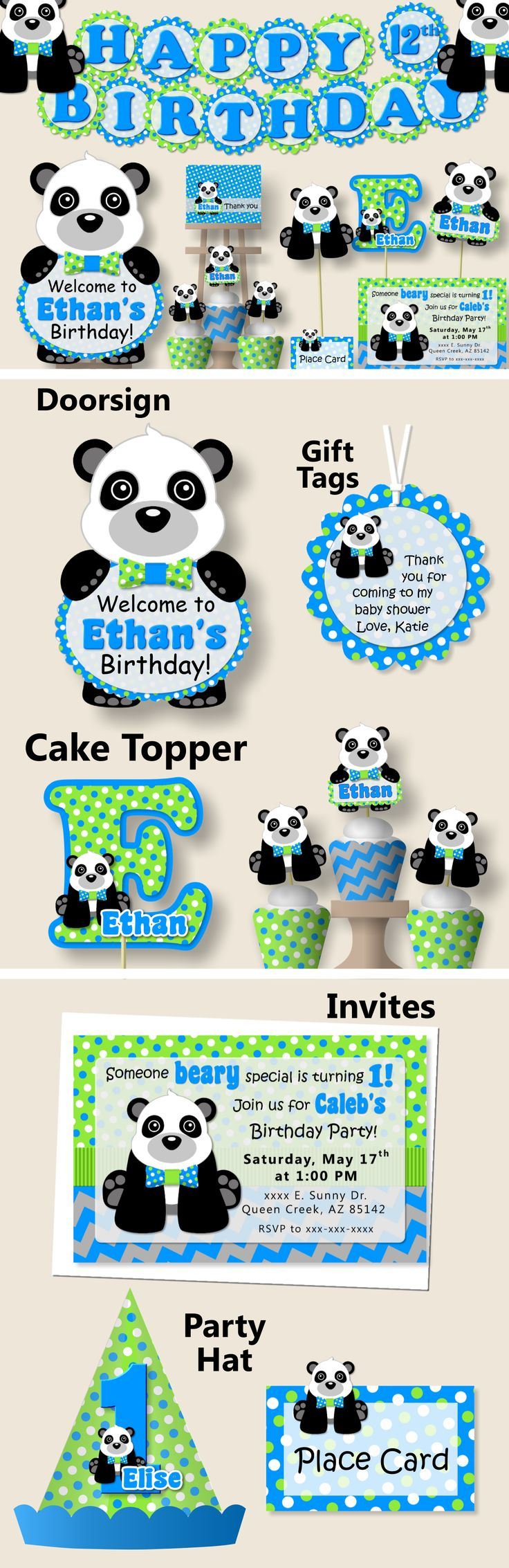 Panda Birthday Party or Panda Baby Shower Decorations - Party Package, Invitation, Banner, Party Hat - Blue and Green #bcpaperdesigns