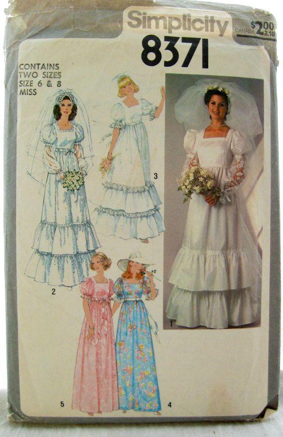 Simplicity 8371  Long Ruffled Wedding Dress Pattern by EmSewCrazy