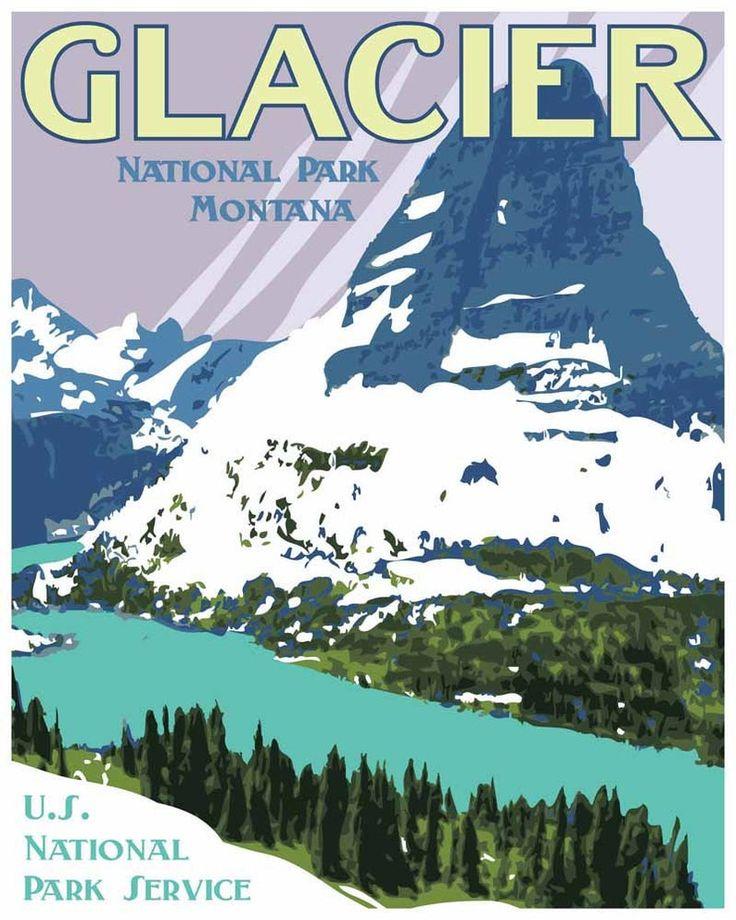 Vintage Glacier National Park Travel Poster, Glacier National Park Print