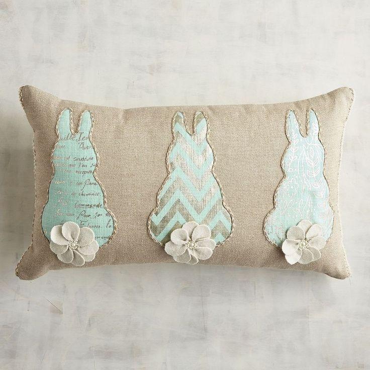Pier 1 Throw Pillow Blue Bunny Tails