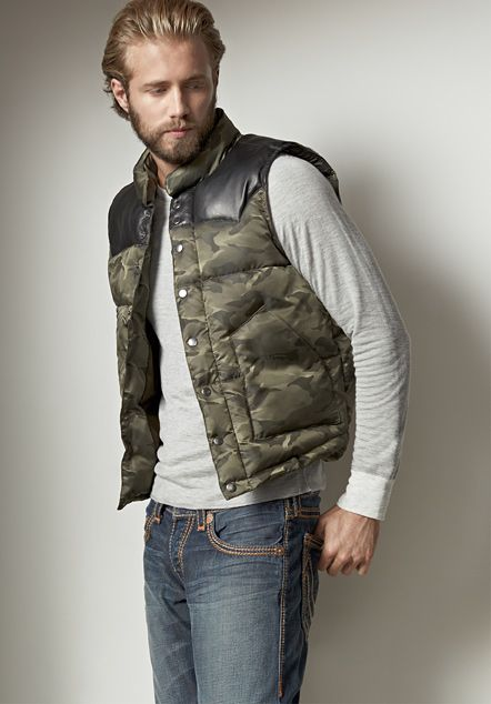 Leather Yoke Nylon Camo Mens Puffer Vest - Mens Shop The Look - True Religion Brand  Jeans