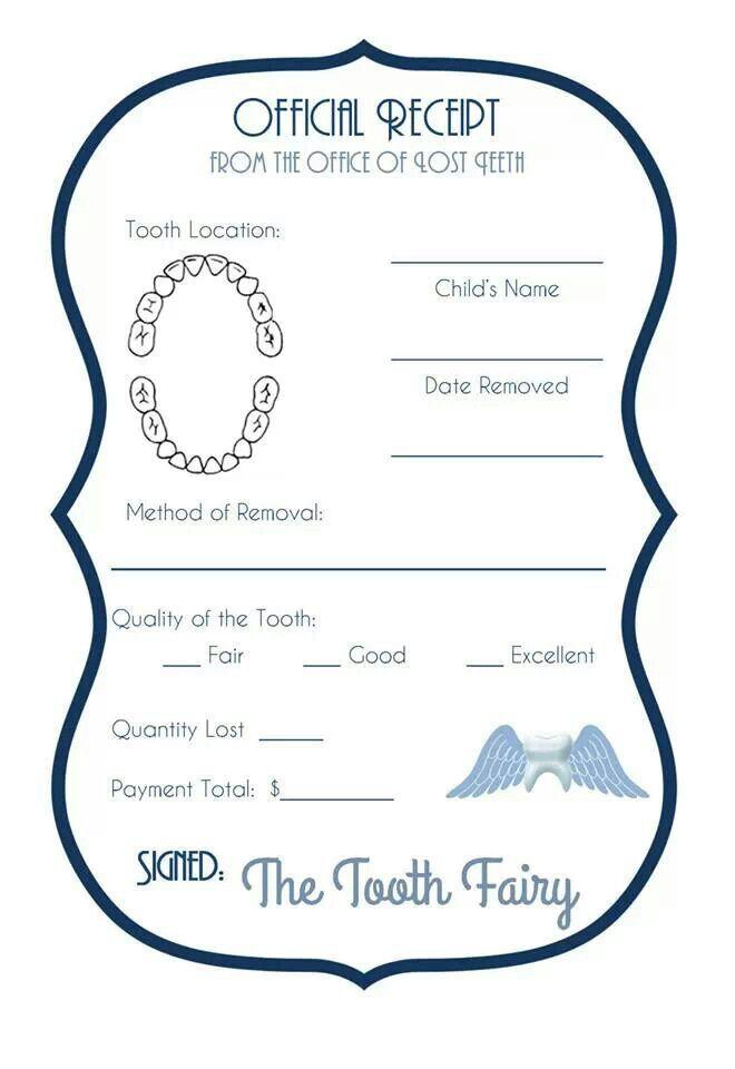 Tooth Fairy Receipt.  Cool idea!  Keep in memory book :) www.dallassmiledentist.com #Dallas #toothfairy #kidsteeth