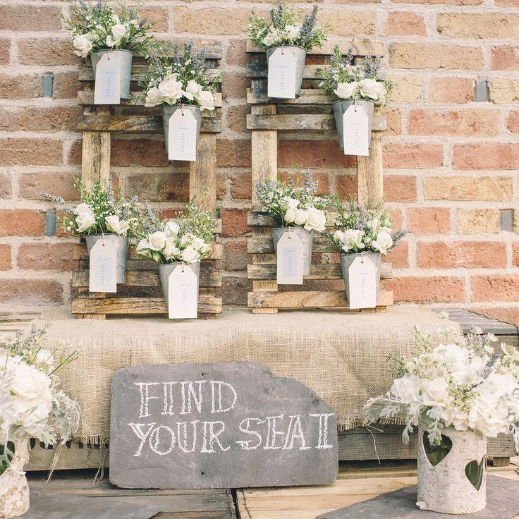 rustic wedding table plan flower pots