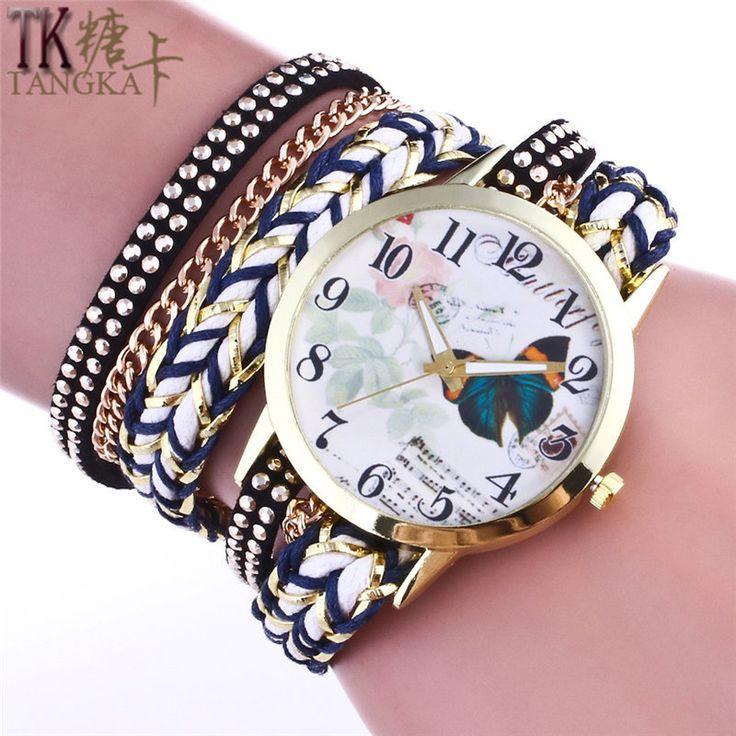 Gold casual woman bracelet watch Fashion retro butterfly Wristwatches leather strap ladies quartz watch relogios feminino clock