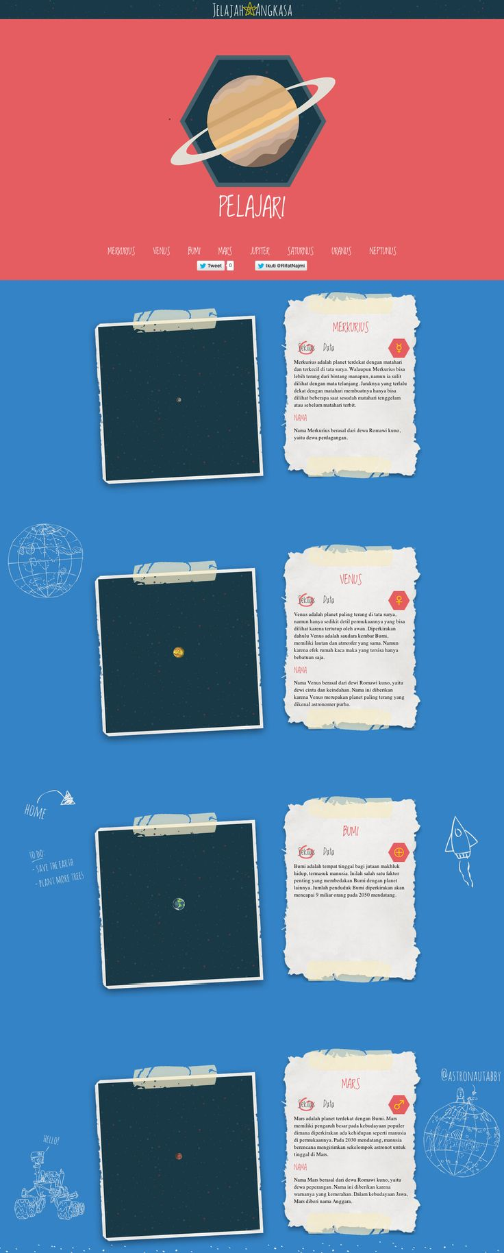 'Jelajah Angkasa' which translates to 'Roaming Space' is a neat informational one pager illustrating various planets and their stats. Love the spanning planets and good use of whitespace, looking forward to an English version!