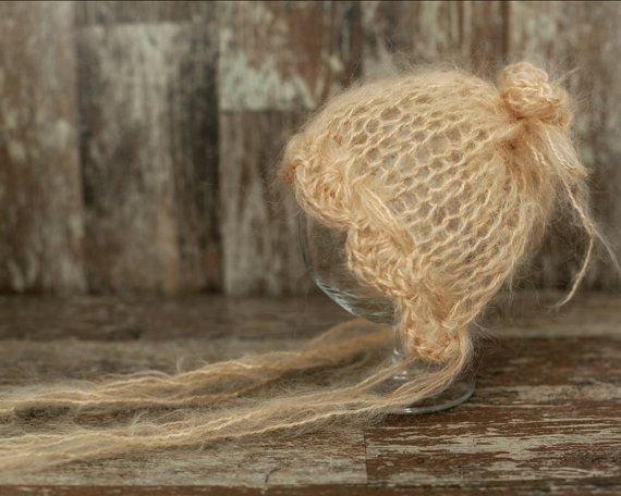 Mohair Newborn Hat, Knit Bonnet ,Baby Girl Bonnet, Newborn Photo prop, Vintage Baby Hat, Knitted Hat Bonnet