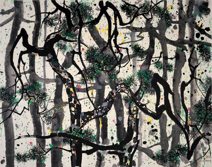 'Pines'  Wu Guanzhong, 1995, ink and color on rice paper, 140 x 179 cm, Shanghai Art Museum.: Revolutionary Ink, Chine Art, Art Museums, Brushes Paintings, Asian Paintings, Wu Guanzhong, Asia Society, Guanzhong Pine, Ink Paintings