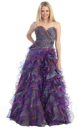 Strapless Layered Ruffle Prom Dress Long Wedding « Dress Adds Everyday