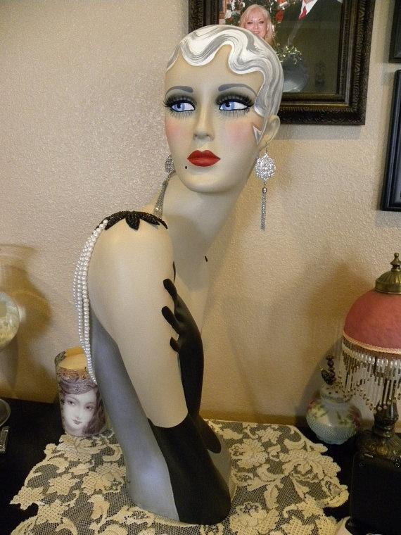 Vintage Style Art Deco Flapper 26 Mannequin Head/ by sharonsherrod, $299.99
