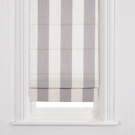 Buy John Lewis Stripe Roman Blinds, Grey / Oyster Online at johnlewis.com