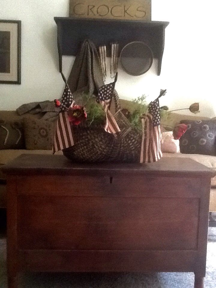 New England Bittersweet colored blanket chest and Olde Glory