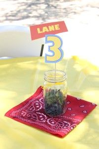 Toy Story Birthday Party red bandana yellow blue centerpiece  army men personalized green three