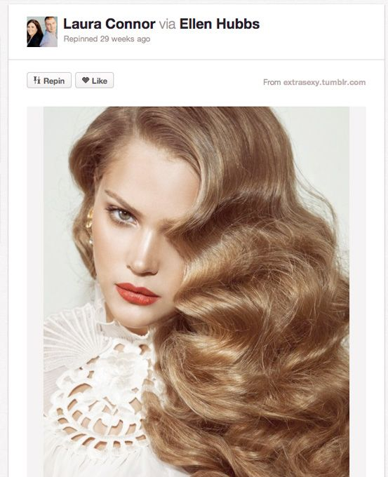 For you ladies who want a cascading hair look, why not try one with a bit of a retro edge? These pin curls are gorgeous and would go perfectly with a vintage-inspired gown.