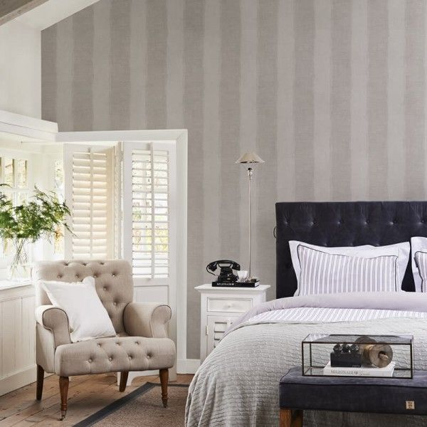 Riviera Maison Tapete Anvers Linen Stripe Silver Grey