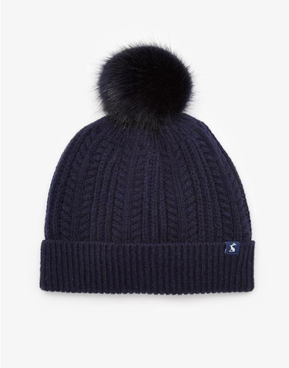 Bobble Navy Pom Pom Beanie Hat , Size One Size | Joules UK