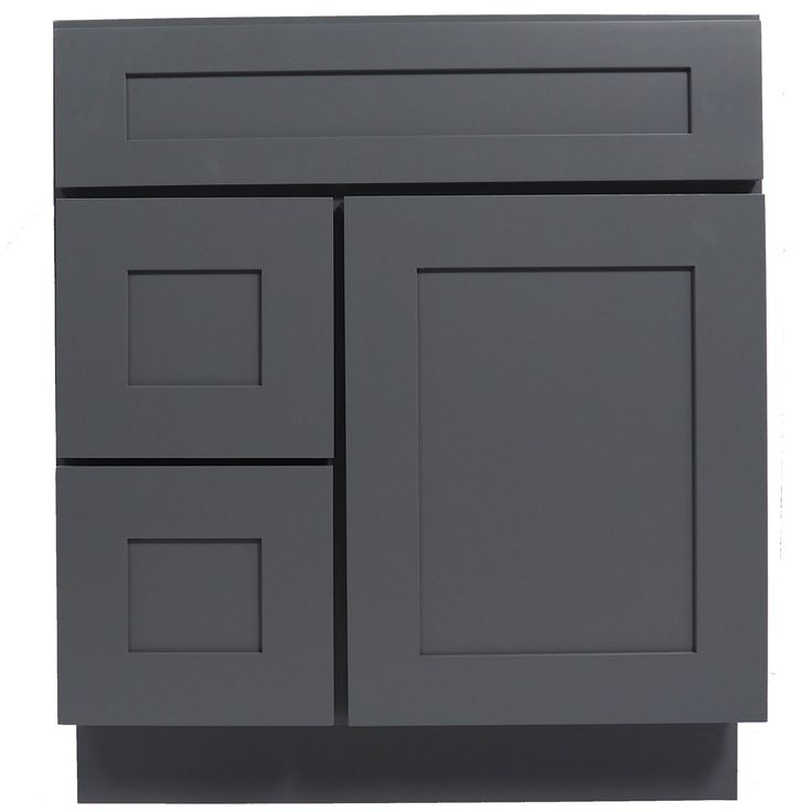 30 Inch Bathroom Vanity Cabinet In Solid Wood Shaker Gray With Soft Close  Drawers And Doors