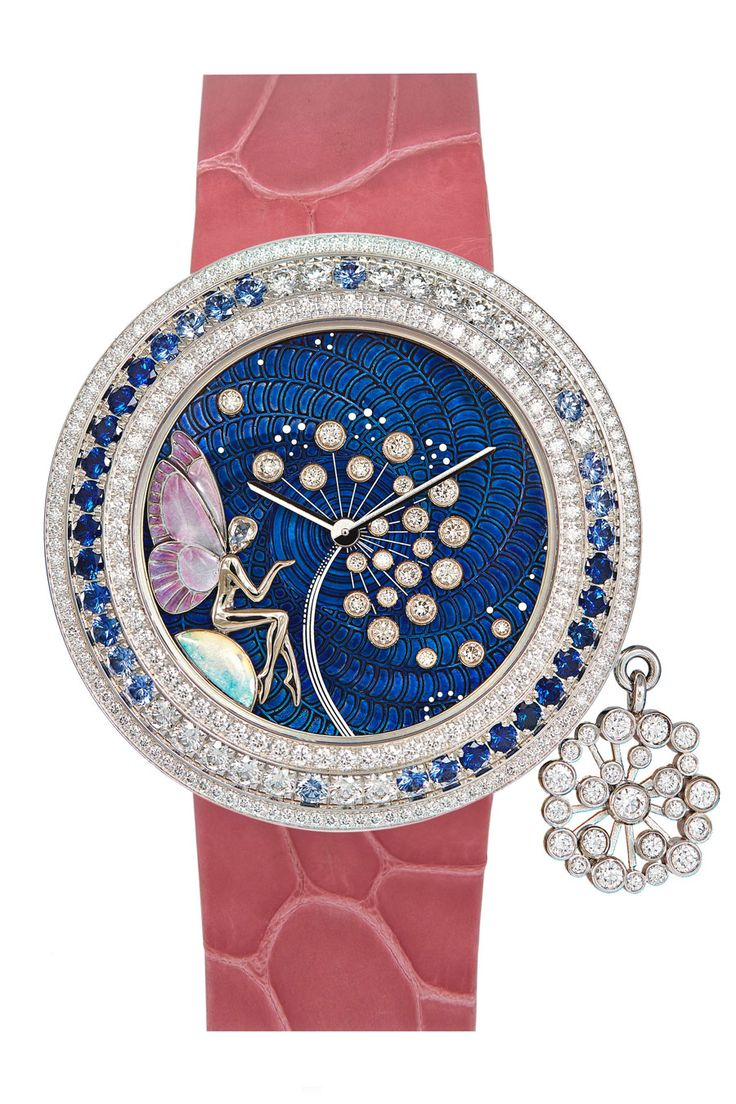 Van Cleef & Arpels Féérie Dandelion watch - set in white gold, Bezel set with diamonds and sapphires. Dial features translucent lacquer, champlevé enamel, sculpted gold and diamonds