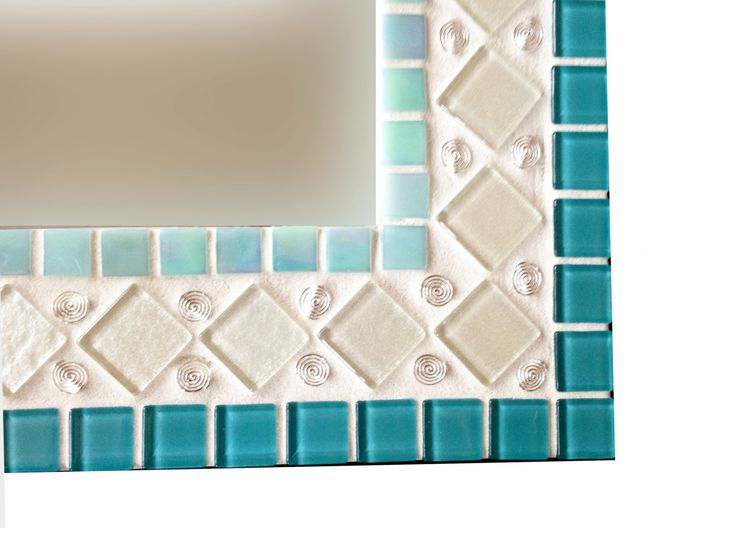Teal, Aqua, White, Silver Wall Mirror // Mixed Media Mosaic by GreenStreetMosaics on Etsy https://www.etsy.com/listing/220069567/teal-aqua-white-silver-wall-mirror-mixed