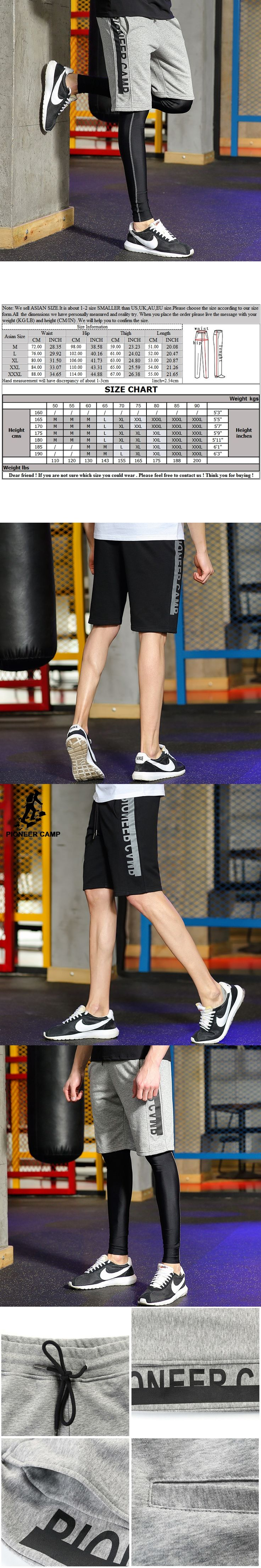Pioneer Camp New design summer shorts men brand clothing fashion printed workout shorts male top quality black grey ADK701026
