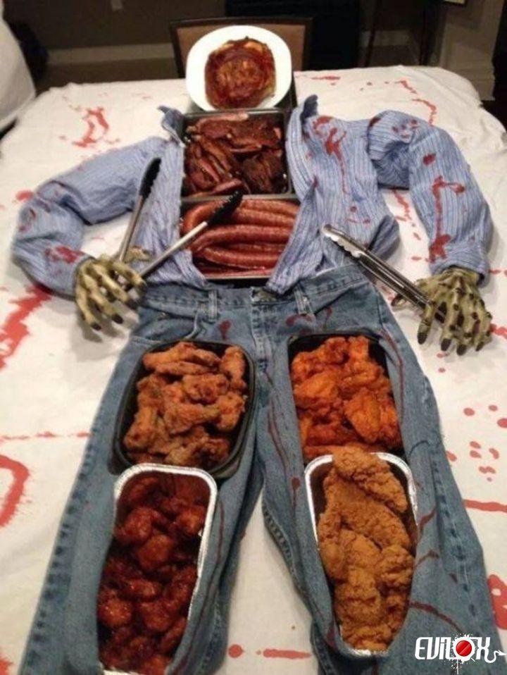 buffet, nourriture, cannibale, saucisse, homme, mannequin