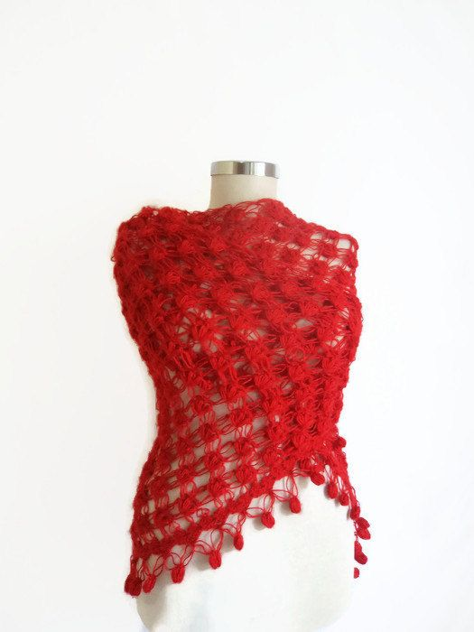 ON SALE RED crochet shawl Triangle warm scarf by modelknitting