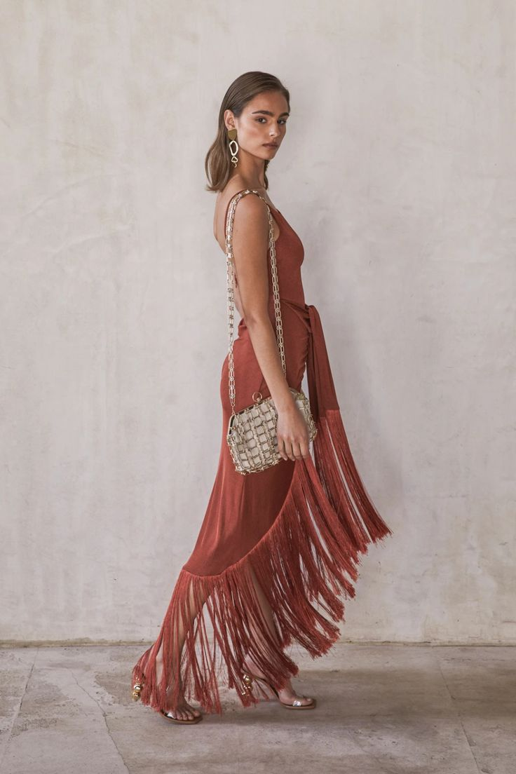 Our Natalia Dress in rich Terracotta features a flattering front tie sarong. Theia Dresses, Gowns, Ball Dresses, Party Dresses, Jumpsuit Dress, Dress Skirt, Mode Boho, Short Dresses, Summer Dresses