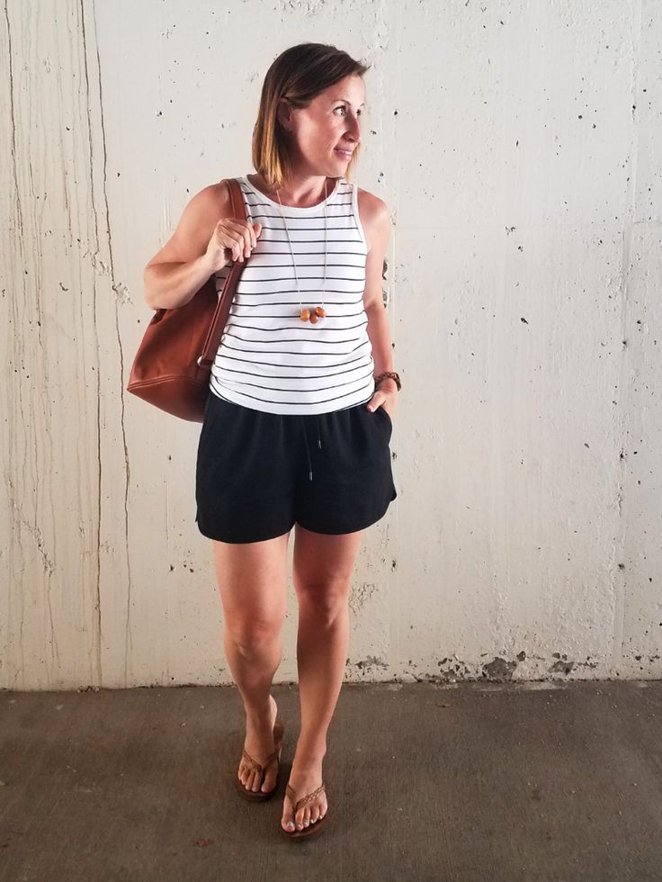 Summer Style Challenge 30x30: Outfit #24: white striped tank top+black jogge shorts+camel flip-flops+long necklace+cognac backpack - Style This Life. Summer Capsule Wardrobe 2017