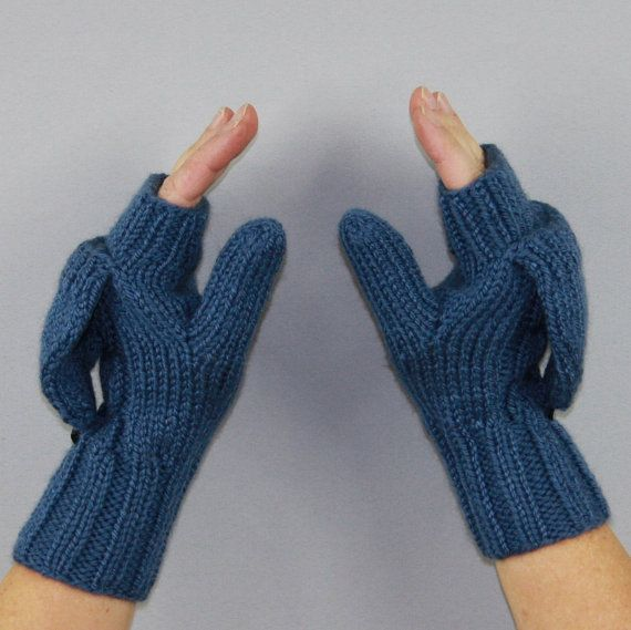 Knitting Pattern For Mittens With Flaps : Beautiful hand knitted convertible mittens. Fingerless gloves with a flap for...