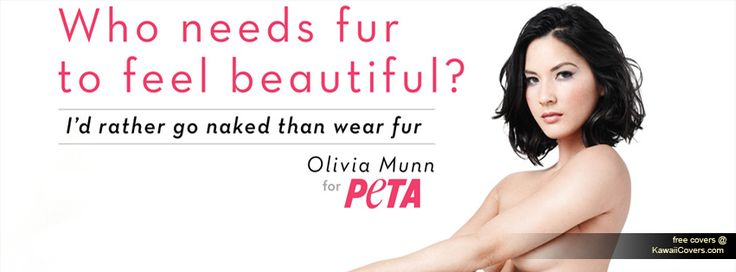 "This photo is obviously aimed at women because the designer asks ""Who needs fur to feel beautiful?"", there is an image of a women, and the font is pink. This design is effective because the text aligns with the left side of Olivia Munn's body, which puts the focus on her (a stunning model who does not wear fur). The contrast between her hair and the background also draws attention to her. I could make someone the focus of my cover photo - specifically someone desirable and well known."