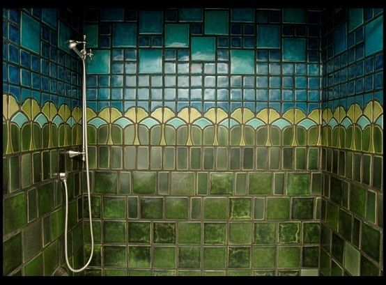 gorgeous arts and crafts shower tile work