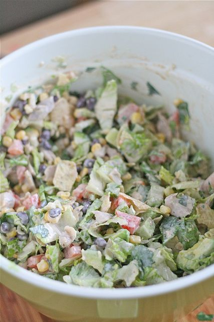 Southwestern Chopped Salad.  I know what to make for dinner next at my in laws.  YUMMO. I used the Epicure selections taco seasoning and creamy ranch dip to make this:) so yummy