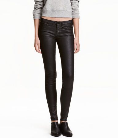 Coatede Skinny Low Jeans | Sort | Dame | H&M NO
