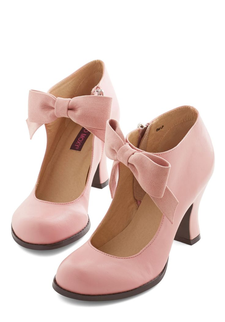 Saturday Strut Heel in Pink. You savor getting ready on Saturday mornings, carefully selecting your prettiest pieces - including these bow-front heels by Mojo Moxy! #pink #prom #wedding #modcloth