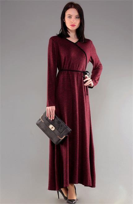 Dide Anvelop Yaka Fırçalı Kumaş Elbise D11042015 Bordo