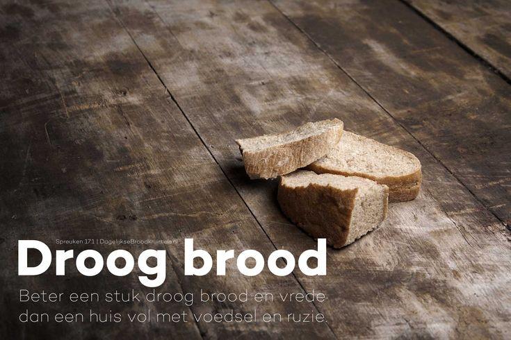 Beter een stuk droog brood en vrede, dan een huis vol met voedsel en ruzie. Spreuken 17:1  #Brood, #Vrede  http://www.dagelijksebroodkruimels.nl/spreuken-17-1/