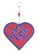 rings online shopping Celtic Knot Heart Glass Suncatchers in Red amp Purple or Red amp Pink Br