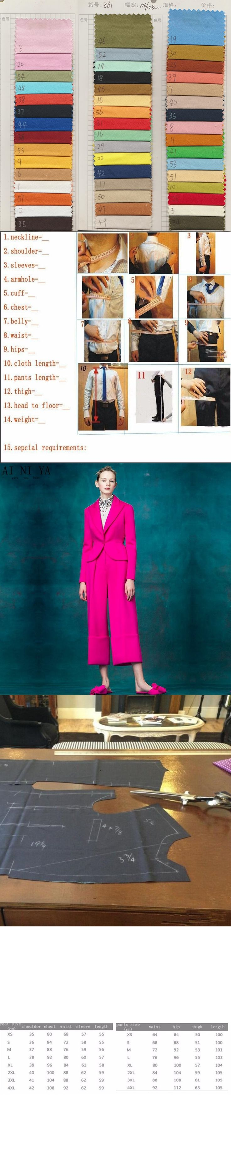 NEW fashion fuchsia 2 piece set women business suits formal office suits work ladies trouser suits womens tuxedo blazer set