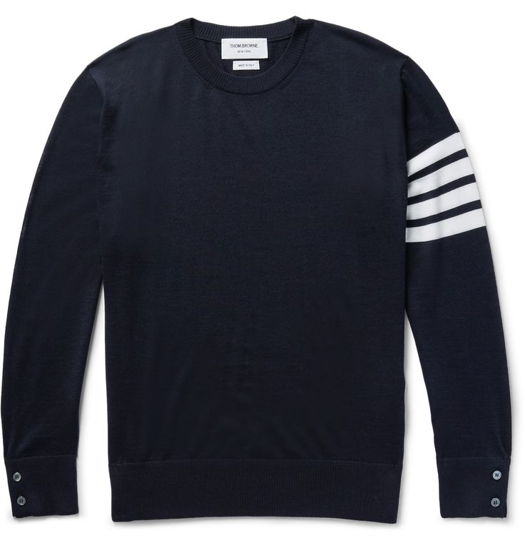 <a href='http://www.mrporter.com/mens/Designers/Thom_Browne'>Thom Browne</a> has built a trusted reputation for quality knitwear and this midnight-blue and white sweater is a sterling example. It's spun from soft, breathable wool and finished with buttoned cuffs and sides for a supremely comfortable fit. The quadruple-striped sleeve is a sporty brand signature.
